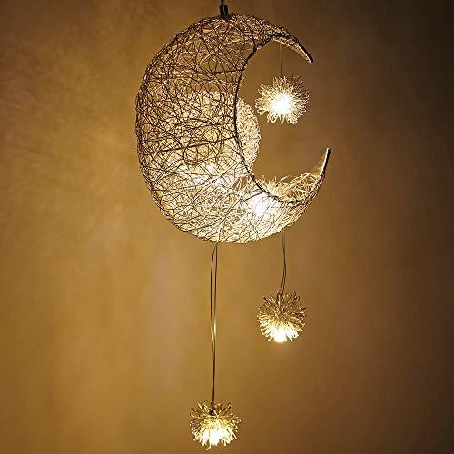 ALLOMN LED Pendelleuchte, Deckenleuchte Fairy Lampe Mond und Sterne Pendelleuchte Schlafzimmer Kronleuchter Großes Geschenk für Kind Freund