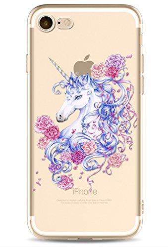 Phone Kandy - Cover trasparente ultra sottile in silicone TPU con unicorno colorato, per proteggere lo smartphone, PLASTICA, 6. Floral Unicorn, iPhone X