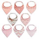FUTURE FOUNDER 8er Baby Dreieckstuch Mädchen Lätzchen rosa Saugfähig Weich Baumwolle Halstücher Spucktuch Mit Druckknöpfen Multifunctional Baby