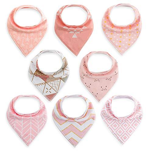 8er Baby Dreieckstuch Mädchen Lätzchen rosa Saugfähig Weich Baumwolle Halstücher Spucktuch Mit Druckknöpfen Multifunctional Baby von FUTURE FOUNDER