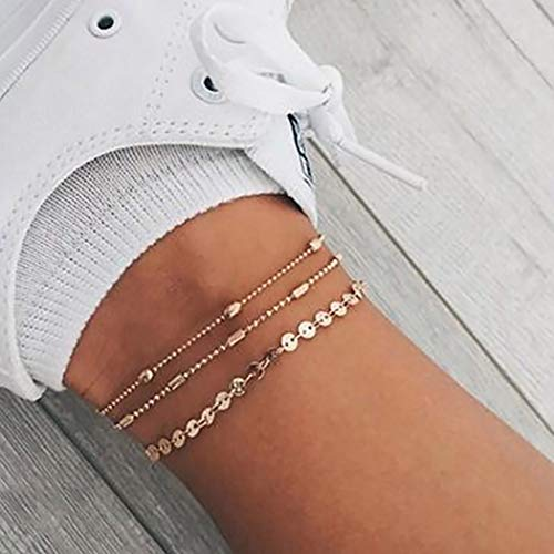 Jeweky Boho Layered Sequines Anklets Beads Foot Jewelry Chain Ankle Bracelets for Women and Girls (Gold)