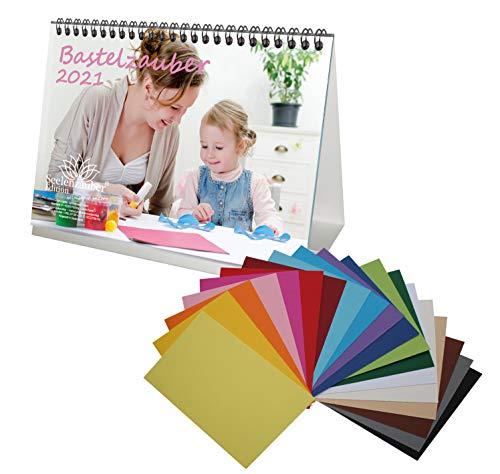 Set fai da te: 1 calendario da tavolo in formato A5 per il 2021 e 20 cartoncini colorati per bricolage A5 – magia del fai da te