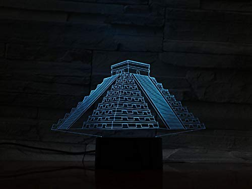 Building Mayan Pyramid 3D LED Night Light USB Table Lamp Kids birthday Gift Bedside home decoration