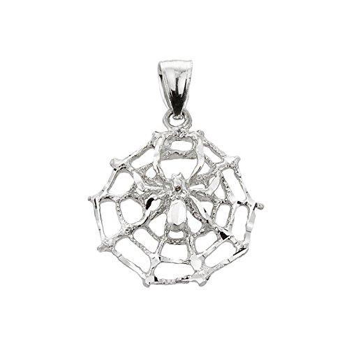 Kleine Schätze - 925 Sterling Silber Spinnennetz Charme-Anhänger Halskette (Kommt mit Eine 45 cm Kette)