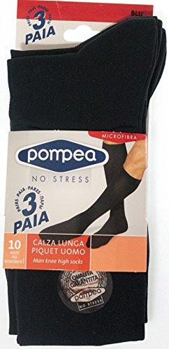 OFFERTA 3 PAIA calze lunghe uomo Pompea no stress in Microfibra 43/46 Colore Blu