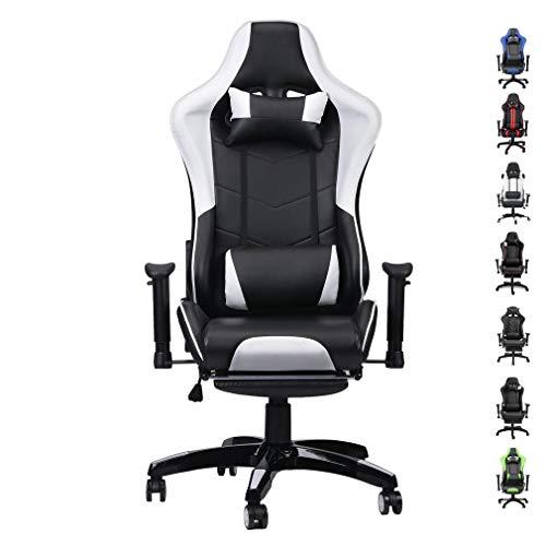 Homall Silla estilo oficina para juegos con respaldo alto, de cuero sintético, silla de computadora de escritorio, estilo de carrera, ejecutiva, ergonómica y ajustable,...