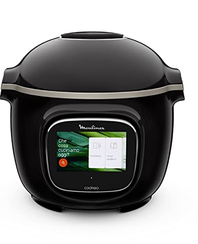 Moulinex Cookeo Touch WiFi CE9028 Multicooker, Touch Screen Interattivo, 13 Programmi Automatici, Ricette Pronte in Meno di 10 minuti, App My Cookeo, Pentola 6 Litri Antiaderente, Nero