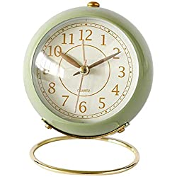 N/F Vintage Table Clock Analogue Alarm Clock Table Radio-Controlled Alarm Clock with Night Light for Nursery Bedroom Office