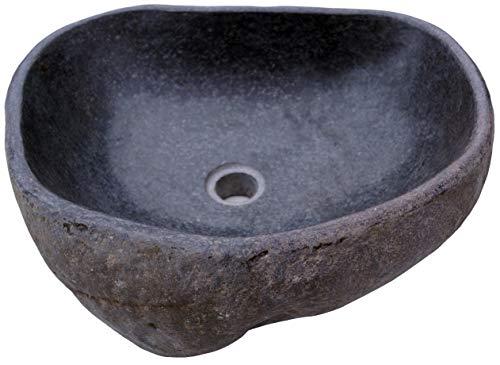 Guru-Shop Massives Flußstein Aufsatz-Waschbecken, Waschschale, Naturstein Handwaschbecken ca. 45 cm - Modell 5, Grau, Waschtische, Waschbecken & Badewannen