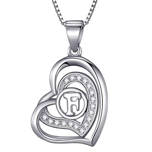 Morella® Damen Halskette Herz Buchstabe F 925 Silber rhodiniert mit Zirkoniasteinen weiß 46 cm