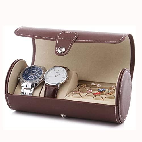 SMOOTHLY Reloj Caja de Almacenamiento Hombres Damas Joyería Caja Regalo Faux Cuero Padre Brown Caja de Almacenamiento