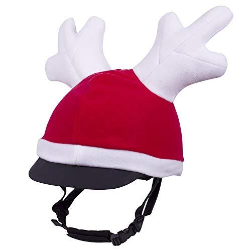 QHP Helmüberzug Rentier, rot mit weißem Rand und Geweih; kompatibel mit jedem Reithelm