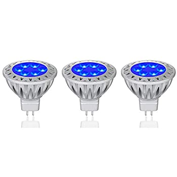 Makergroup MR16 Blue LED Bulbs 12VAC/DC Low Voltage Lighting Gu5.3 Bi-pin LED Lamps Spotlights 35-50W Halogen Replacement for Indoor and Outdoor Landscape Decoration Lighting 3-Pack
