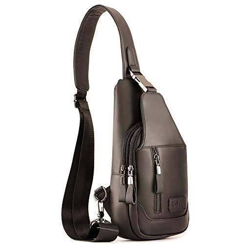 Men's Leather Sling Bag Travel Chest Crossbody Shoulder Outdoor Sports Backpack
