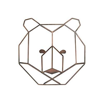 NoJo - Metallic Copper Wire Shaped Bear Head Wall Art, Nursery Wall Art, Kid Room Décor, Playroom Art