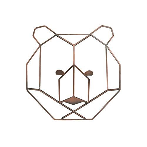 NoJo - Metallic Copper Wire Shaped Bear Head Wall Art, Nursery Wall Art, Kid Room D