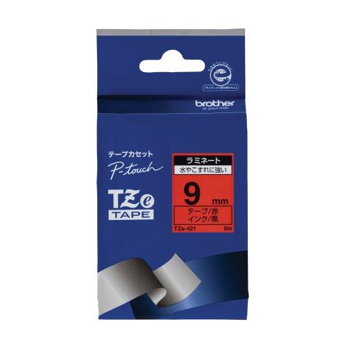 ピータッチ ラミネートテープ 赤ラベル TZe-421 [黒文字 9mm×8m]