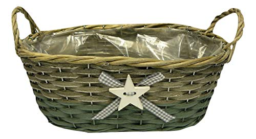 CALIPSO Rustic Lined 30cm Woven Wicker Christmas Oval Basket with Star Green & Brown Planter (Pack of 6 Baskets)
