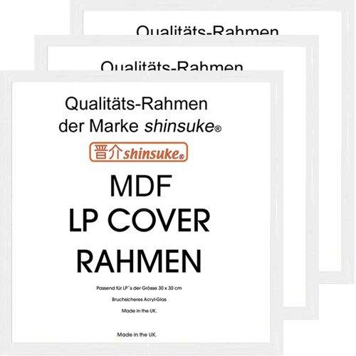 empireposter LP Schallplatten-Cover Rahmen - 3 Stück Rahmen #534200 LP Wechselrahmen der Marke Shinsuke® für LP-Cover 3 cm MDF Holzfaserwerkstoff 31,5x31,5 cm Weiss