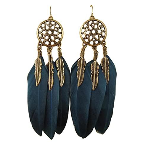 Pendientes largos con diseño de atrapasueños para mujer, pendientes de plumas sintéticas, bohemios, con flecos, largos, colgantes, Zinc,