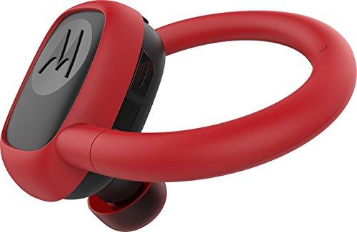 Motorola Stream Sport - Mini Bluetooth Auriculares Inalámbricos con Cargador - Alexa, Siri y Google Now compatible - Negro y Rojo