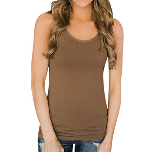 Camiseta de Tirantes básica para Mujer, Camisa Blusa sin Mangas o Cuello Casual Mujeres Basica Camiseta Tops