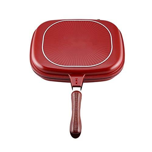 Fancysweety Poêle double face, outil de cuisine anti-adhésif pour barbecue, ustensiles de cuisine durables et fiables, adapté pour la maison, en plein air, rouge