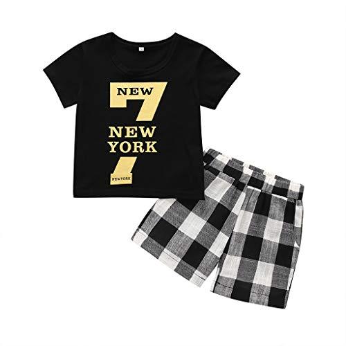 Baby Kleidung, Kids Baby Outfits Set Letter T Shirt Tops Blusen+Plaid Kurze Yuiopmo Hose Hosen Jungenkleidung