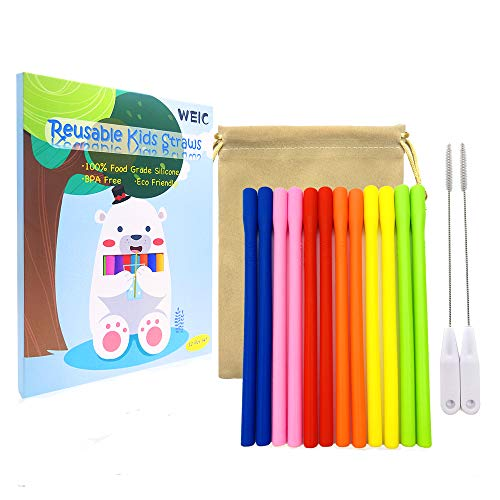 Desheng Drinking Straws - Kids Reusable Silicone Straws for take and toss cups with Cleaning Brush(BPA Free,Short,Narrow,Assorted,Pack of 12)