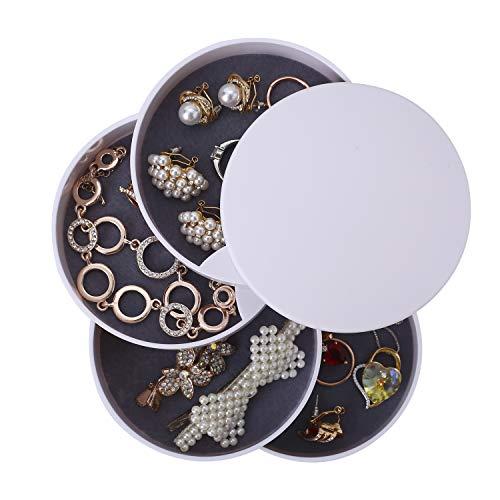 Ulikey Caja Joyero Organizador Rotación de 360°, Joyero de 4 Capas Redondos, Joyero Organizador Viaje Mujer Niña, Joyero Jewelry Organizer Pequeña para Anillos, Aretes y Collares (Blanco)