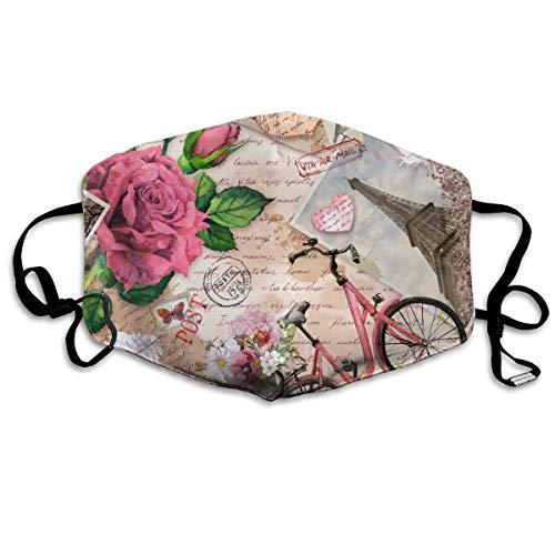 Houity Stofdicht Wasbaar Masker, Fiets Met Bloemen In Mand Eiffeltoren Roze, Zacht, Ademend, Wasbaar, Knop Verstelbaar Masker, Geschikt voor Mannen En Dames Maskers