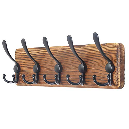 Dseap Coat Rack Wall Mounted - 5 Tri Hooks, Heavy Duty, Wooden Wall Coat Hanger Coat Hook for Clothes Hat Jacket Clothing, Natural & Black
