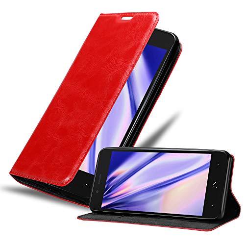 Cadorabo Hülle für BQ Aquaris X5 Plus in Apfel ROT - Handyhülle mit Magnetverschluss, Standfunktion & Kartenfach - Hülle Cover Schutzhülle Etui Tasche Book Klapp Style
