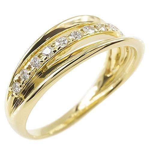 [アトラス]Atrus リング レディース 婚約指輪 10金 イエローゴールドk10 ダイヤモンド 3連リング 指輪 13号