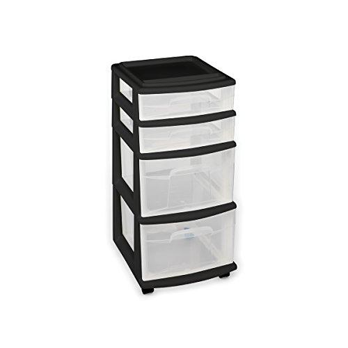 Homz 4 Storage Cart, Set of 1, Black Frame/Clear Drawers