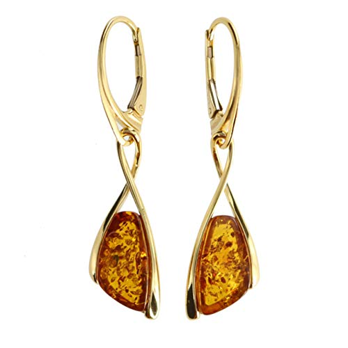 Pendientes de mujer con ámbar de Artisana, pendientes de plata de ley 925 chapados en oro