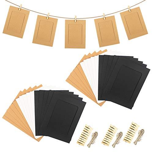 30 Stück Papier Bilderrahmen mit 30 Stück Holzklammern und 3 Stück Hanfseil Set, 6x4 Zoll DIY Kraftpapier Fotorahmen, Hängender Albumrahmen für Zuhause Schule Büro Wand Dekoration (3 Faben)