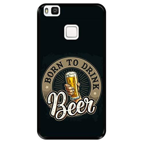 Funda Negra para [ Huawei P9 Lite ] diseño [ Saludos, Nacido para Beber Cerveza ] Carcasa Silicona Flexible TPU
