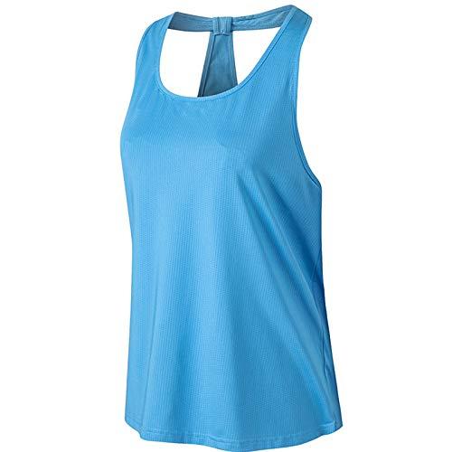 LHQ-HQ Camiseta De Entrenamiento En Forma De T con Cuello En U para Mujer, Camiseta Azul De Secado Rápido, Camiseta para Correr, Camisetas De Yoga,XL