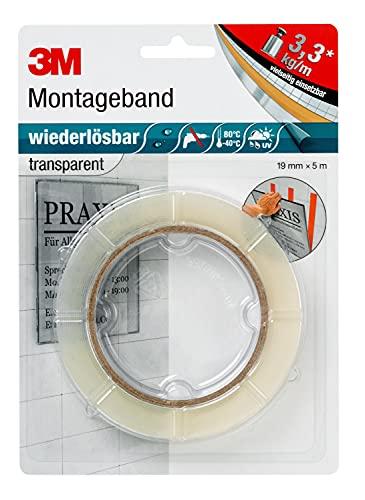 3M Wiederlösbares Montageband, doppelseitiges Klebeband für Innen- und Außenanwendungen, 19 mm x 5 m x 0,8 mm, transparent (1er Pack)
