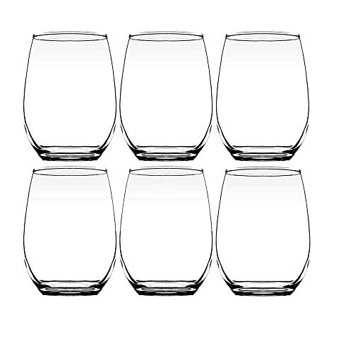 Modvera 20oz Red & White Stemless Wine Glass Set of 6 | Large Size for Enhanced Aeration with Durable Lead Free Chip Resistant Rim, Sleek Modern Drinking Tumbler