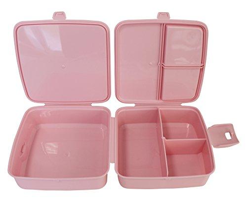 Brotdose Lunchbox 4 Fächer mit Besteck (rosa)
