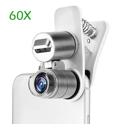 60x optische zoom telefoon microscoop lens, uv licht clip-on micro lens vergrootglas voor het lezen van sieraden stempel munt, voor universele mobiele telefoons