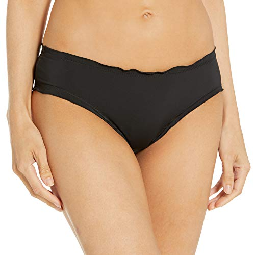 Hobie Women's Standard Ruffled Solid Hipster Bikini Bottom Swimsuit, Black, Medium