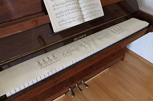 Klavierläufer Tastenläufer Tastaturabdeckung für Klavier Tastendecke bestickt 100% Wolle Creme 200