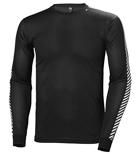 Helly Hansen Lifa Stripe Crew Iconic Performance Base Layer for Men, Lightweight Insulation and Comfort, Black, Large
