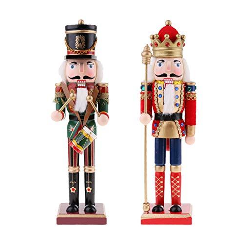 perfk 30 cm Nussknacker Figuren Modell Dekoration für Weihnachten Party - 2 Stücke