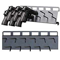 PREVENT DAMAGES- Pegs are spaced to store full-sized pistols, 9mm caliber and larger. A sleeve comes on every peg. The sleeve which protects the barrel from damages is made of a rubber coating. ULTRA DURABLE- Made from heavy-duty, 12-gauge steel, enh...