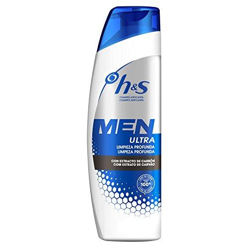 Head & Shoulders Men Ultra Limpieza Profunda Champú Anticaspa 300 ml, con carbón para un pelo y un cuero cabelludo limpios
