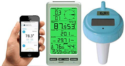 Ambient Weather WS-50-F007PF WiFi Smart Floating Pool, Spa, and Pond Thermometer with Remote Monitoring and Alerts